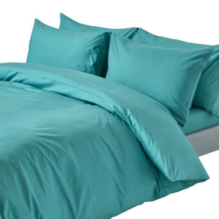 parure de lit sarcelle 100 coton egyptien 200 fils 240 x 220 cm achat vente parure de drap. Black Bedroom Furniture Sets. Home Design Ideas