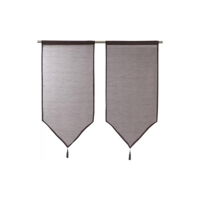 paire de voilage vitrage 45x90 cm chocolat achat vente rideau cdiscount. Black Bedroom Furniture Sets. Home Design Ideas