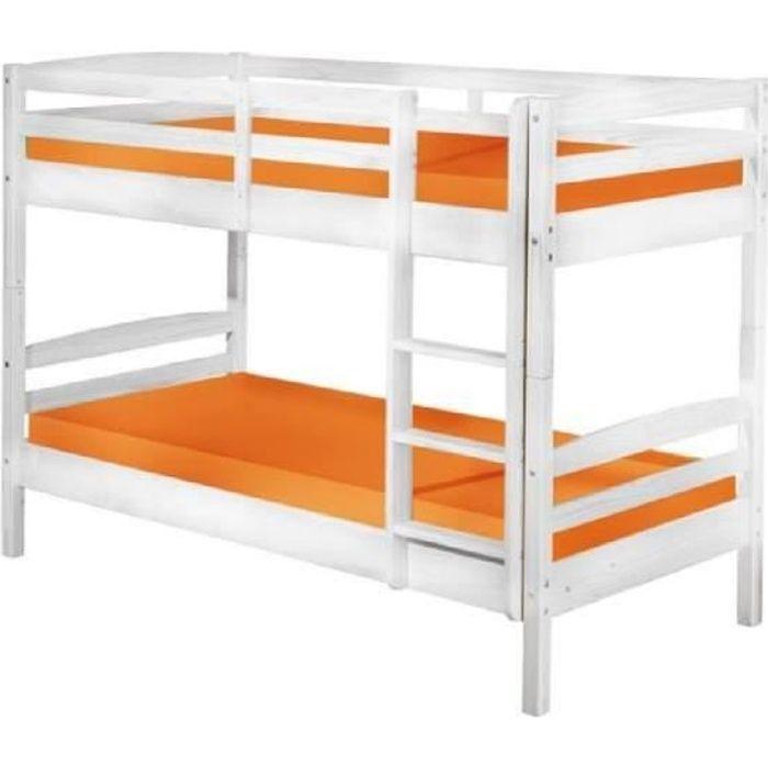 rick lit superpos enfant en pin massif blanc achat vente lits superposes rick lit superpos. Black Bedroom Furniture Sets. Home Design Ideas