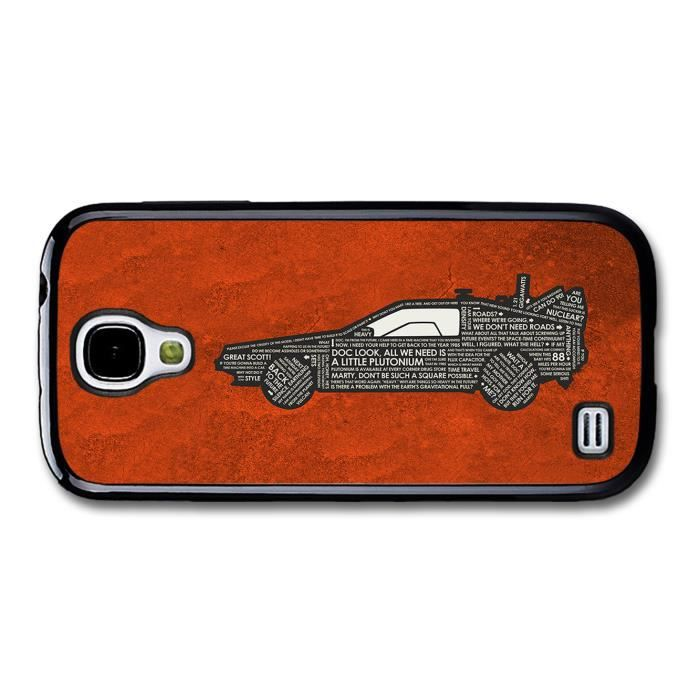 back to the future car marty mcfly doc quotes orange background coque pour samsung galaxy s4. Black Bedroom Furniture Sets. Home Design Ideas