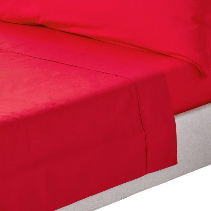 drap plat uni 100 coton gyptien 200 fils rouge 230 x 255 cm achat vente drap plat cdiscount. Black Bedroom Furniture Sets. Home Design Ideas
