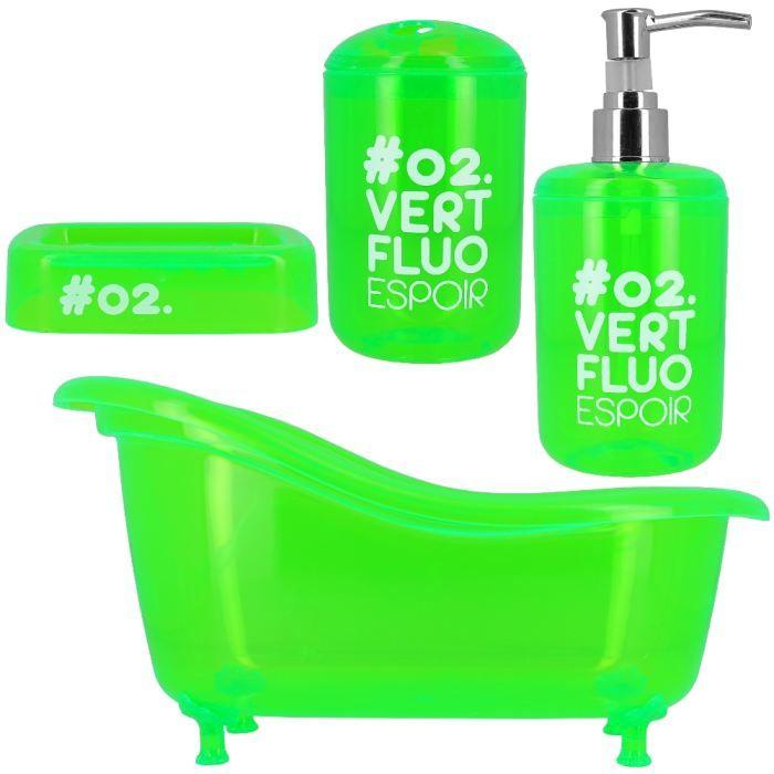 Coffret set salle de bain 4 pi ces design mode flu achat vente set accessoires pvc m tal for Set salle de bain design