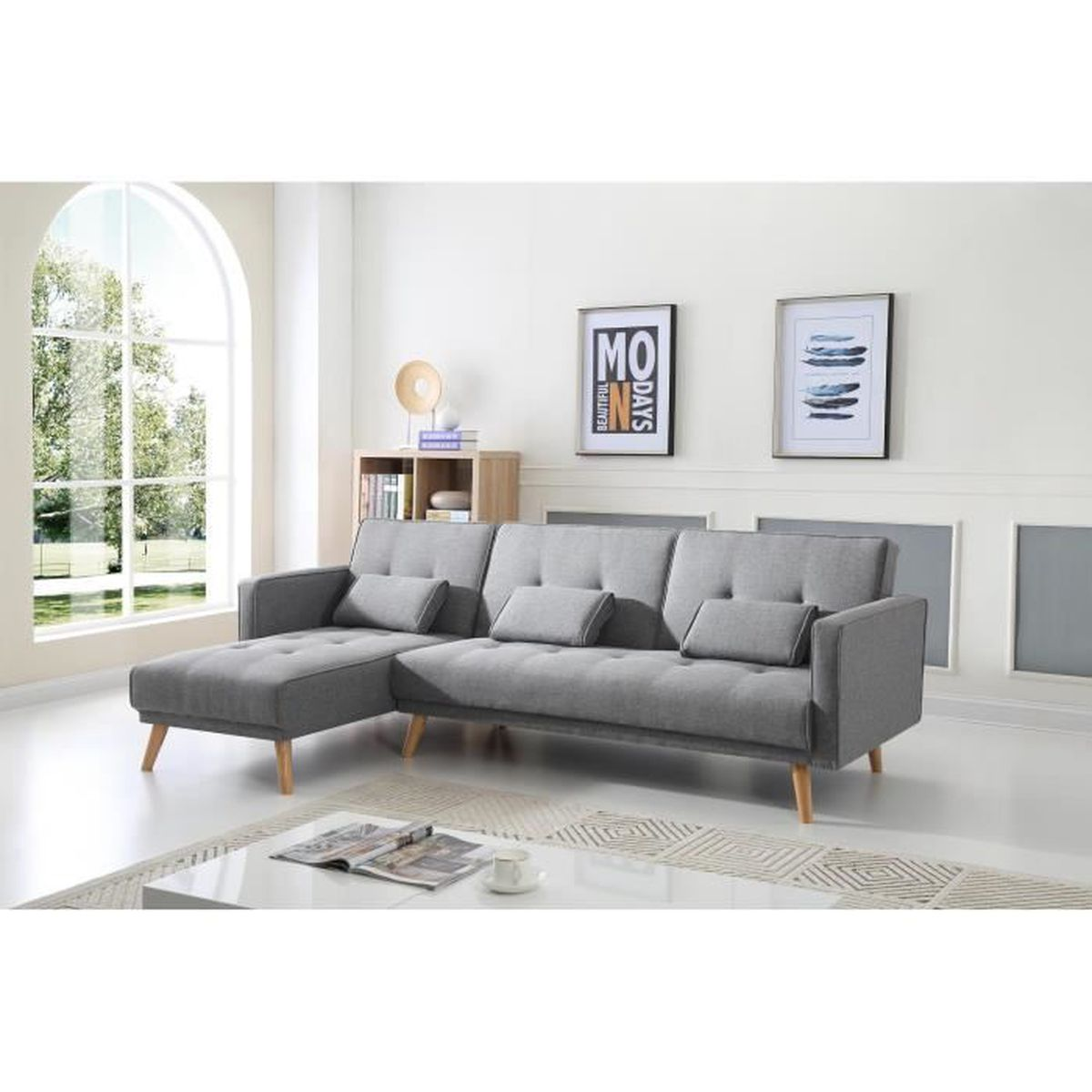 scandinave canap d angle r versible convertible 267x151x88cm gris clair achat vente. Black Bedroom Furniture Sets. Home Design Ideas