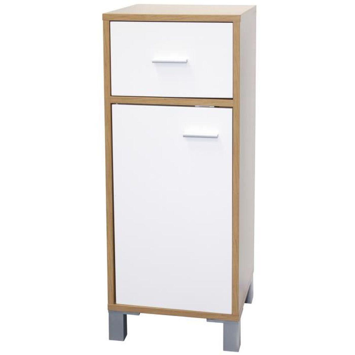 Meuble salle de bain en bois 1 tiroir et 1 porte bicolore for Meuble salle de bain 2 portes 1 tiroir