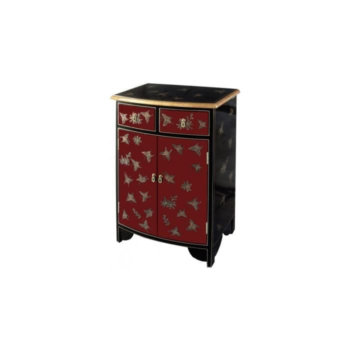 meuble de rangement chinois laque rouge et noire 2 portes. Black Bedroom Furniture Sets. Home Design Ideas