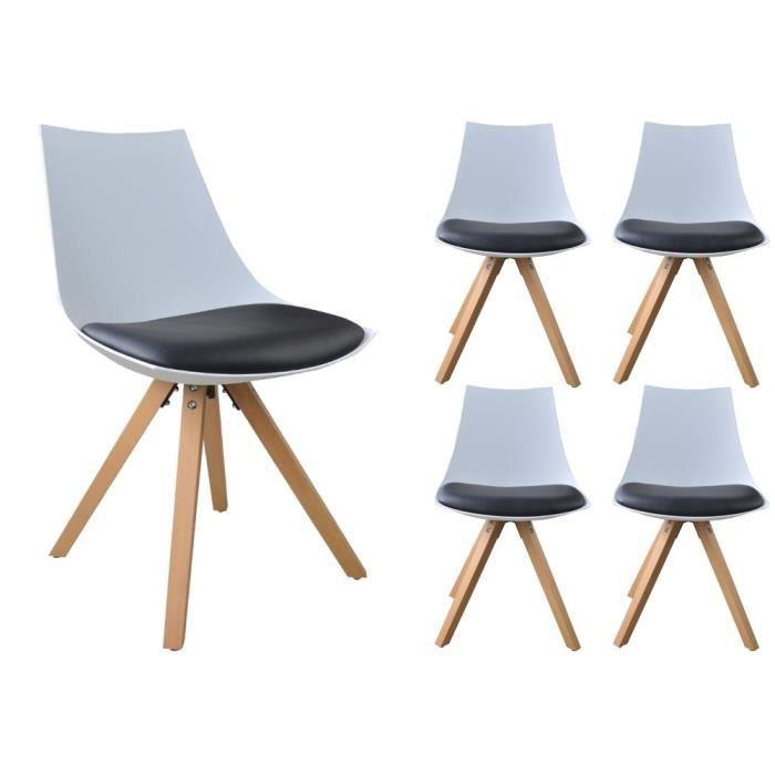Lot de 4 chaises nordica scandinave a16 blanc et noir - Chaise blanc et noir ...