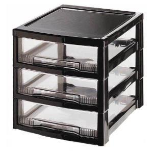 Tours de rangement trois tiroirs tour de rangement noir - Rangement colonne plastique ...