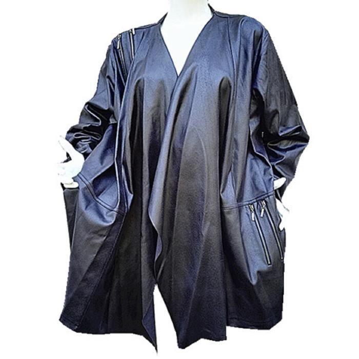 manteau mi longue veste grand taille 50 52 54 56 58 60 femme cuir simili v812 noir noir achat. Black Bedroom Furniture Sets. Home Design Ideas