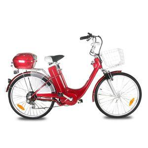 VÉLO ASSISTANCE ÉLEC Vélo électrique E-GO CITY  BIKE 250W  - ROUGE