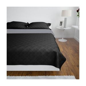 couvre lit noir et gris achat vente couvre lit noir et. Black Bedroom Furniture Sets. Home Design Ideas