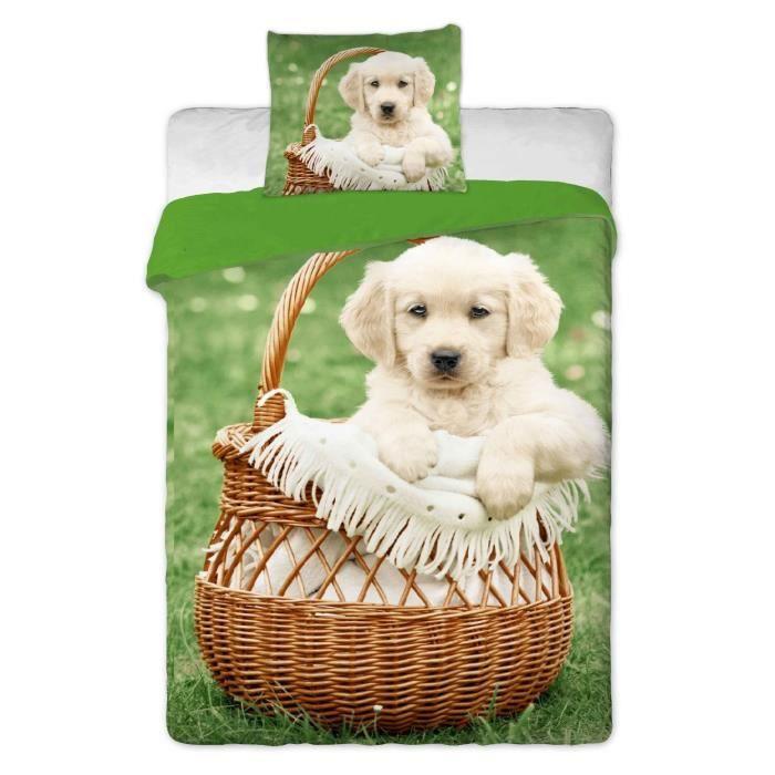 parure de lit chien 100 coton panier achat vente parure de lit cdiscount. Black Bedroom Furniture Sets. Home Design Ideas