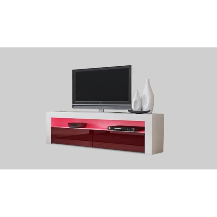 meuble tv design 157 cm blanc et bordeaux sans led achat vente meuble tv meuble tv design. Black Bedroom Furniture Sets. Home Design Ideas