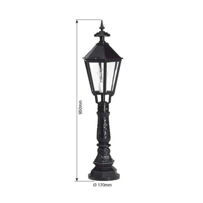 Luminaire ext rieur hexagonal 95cm noir achat vente for Luminaire exterieur noir