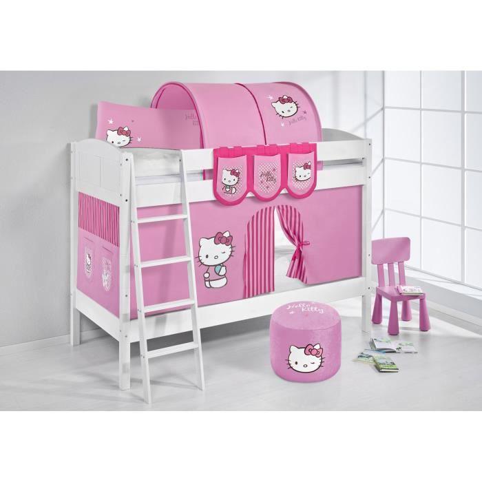 Lits superpos s ida 4106 hello kitty rose avec rideaux et deux sommier la - Rideau pour lit superpose ...