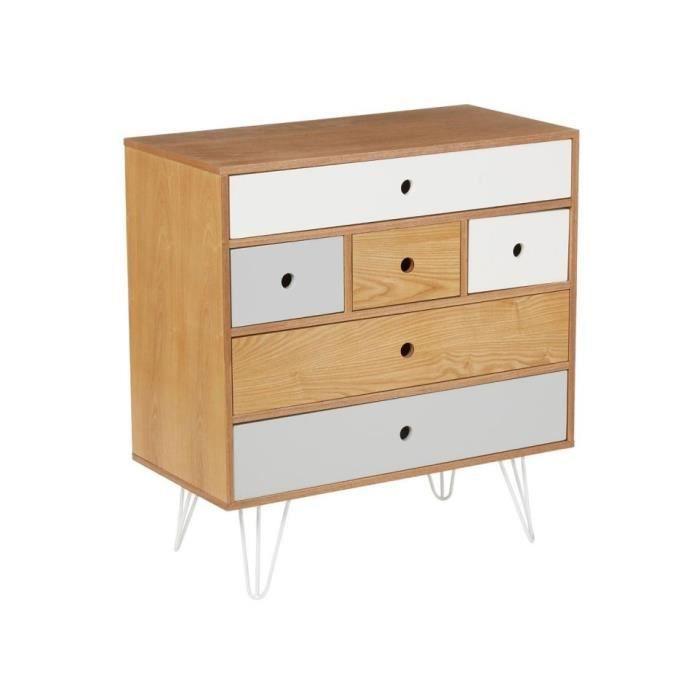 commode 6 tiroirs gris et blanc shulg achat vente. Black Bedroom Furniture Sets. Home Design Ideas
