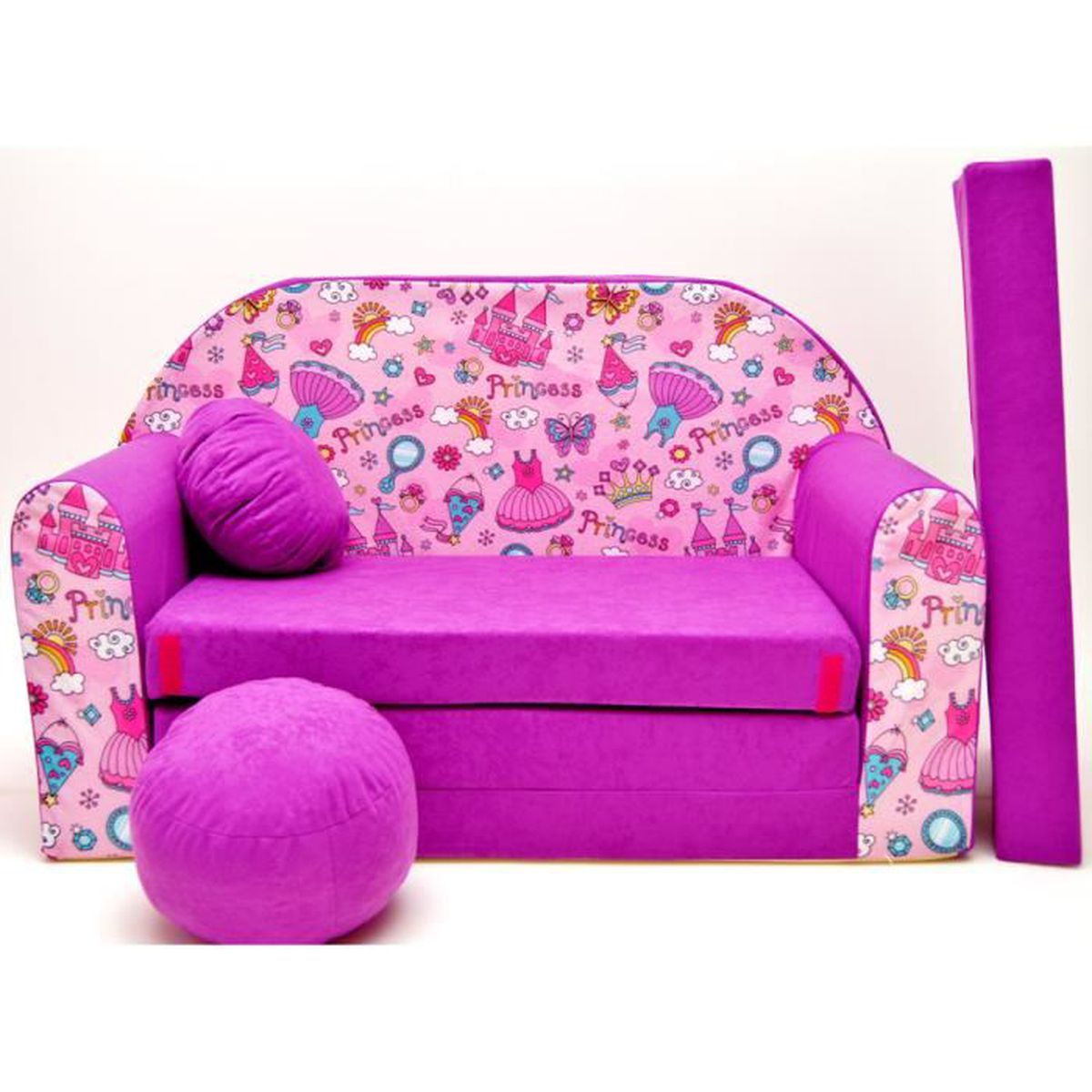 canape sofa enfant 2 places convertible princesse fuchsia achat vente fauteuil canap b b. Black Bedroom Furniture Sets. Home Design Ideas
