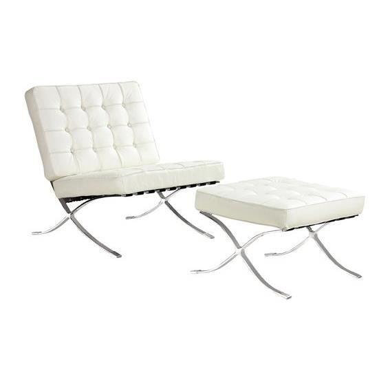 fauteuil et repose pieds barcelona cuir int gral blanc. Black Bedroom Furniture Sets. Home Design Ideas