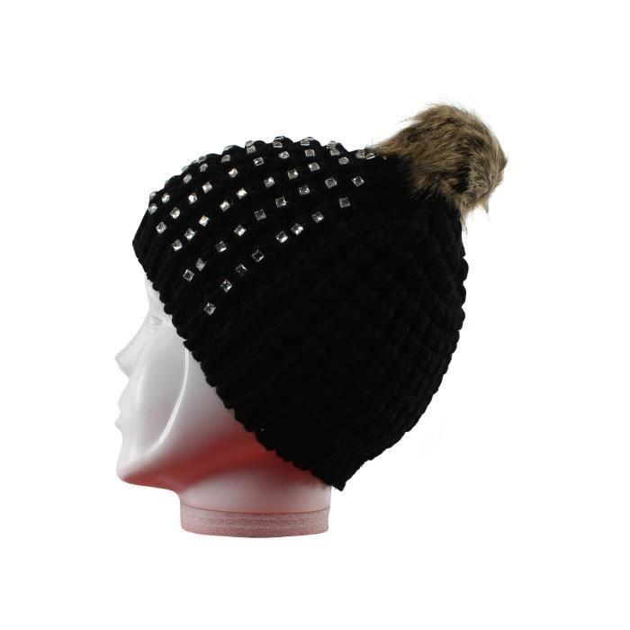 Bonnet strass femme pompon fausse fourrure noir et marron t u acrylique noir noir et marron for Bureaux adolescente noir et strass