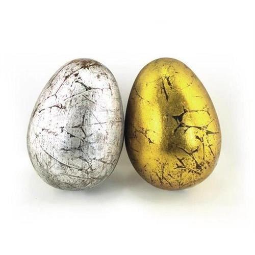Objet decoratif x 2 oeuf dore argente 10 cm achat for Objets decoratifs maison