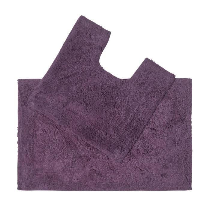 tapis de bain haut de gamme 2 pi ces aubergine achat vente tapis de bain 5055967428263. Black Bedroom Furniture Sets. Home Design Ideas