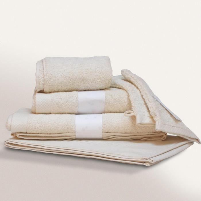 parure de bain 6 pi ces pure ivoire 550 g m2 achat. Black Bedroom Furniture Sets. Home Design Ideas