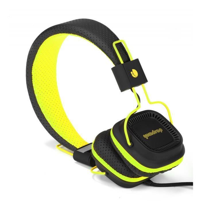 casque fluo avec micro yellow gumdrop casque couteur audio avis et prix pas cher cdiscount. Black Bedroom Furniture Sets. Home Design Ideas