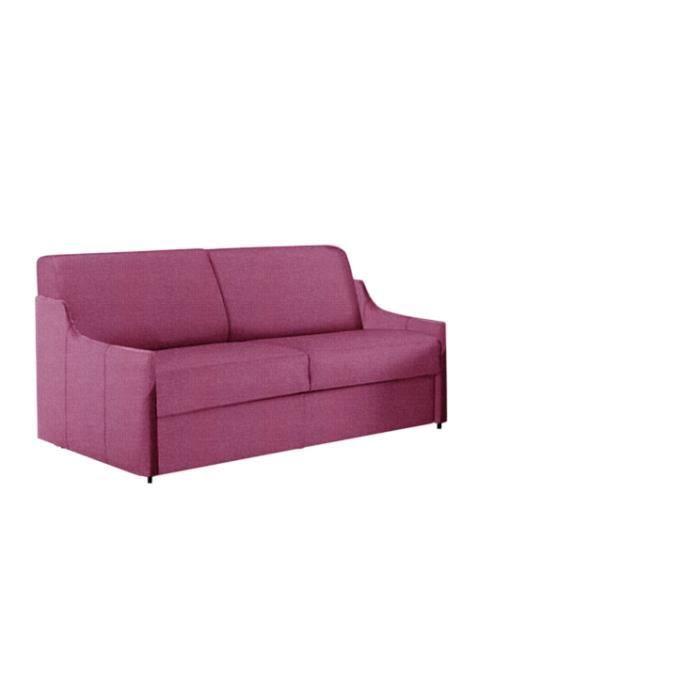 Canap convertible luna tissu rose lit 140x190 achat vente canap sofa - Canape convertible rose ...