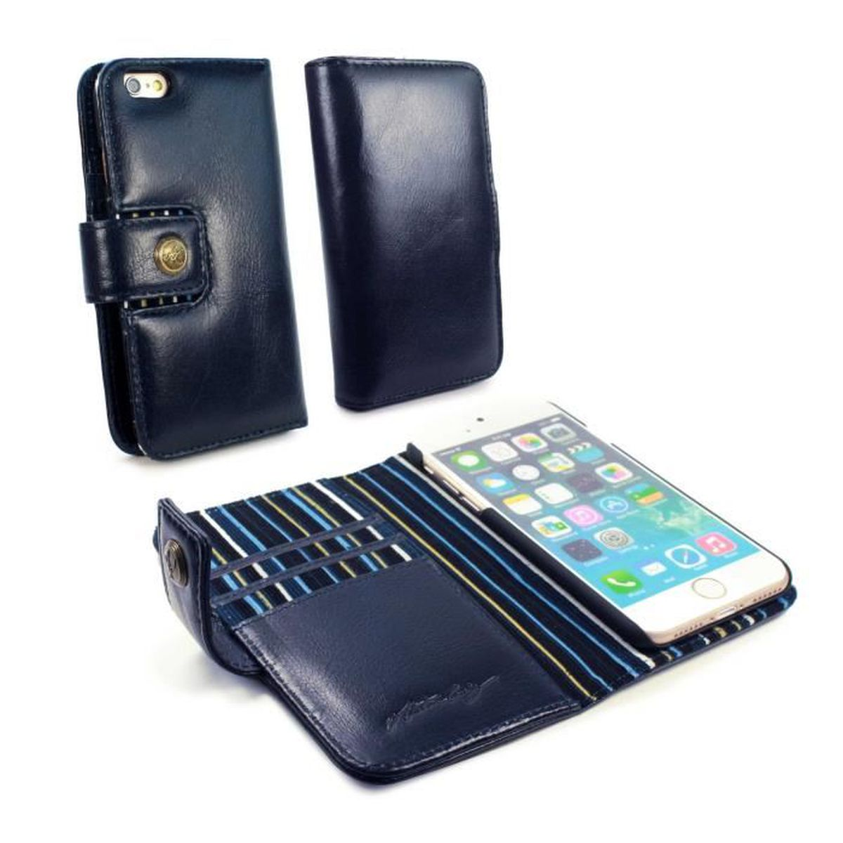 Alston craig housse en veritable cuir vintage rfid wallet for Housse iphone 7 cuir