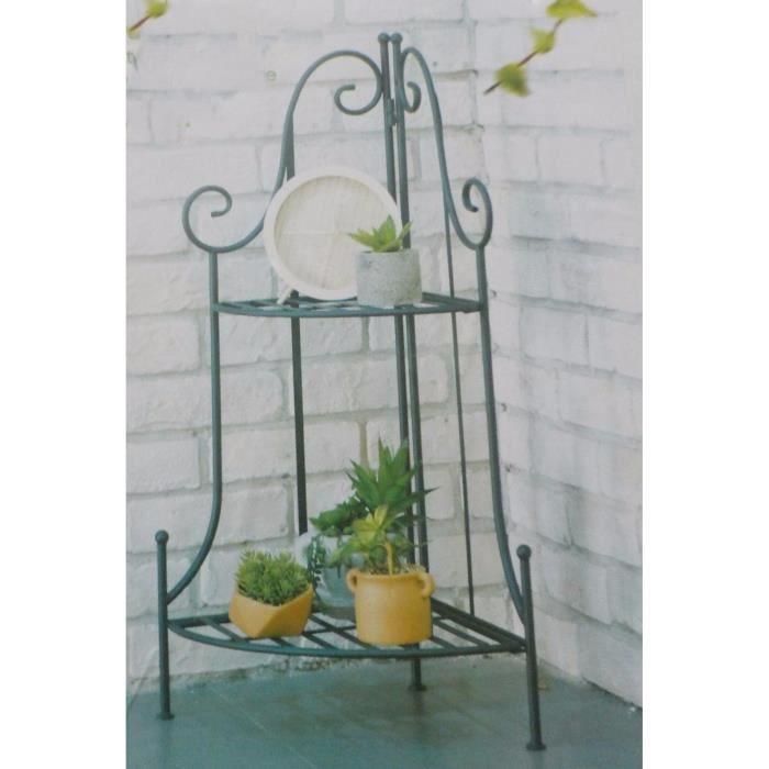 Etagere angle droit en fer forge metal pour plante support - Nom de maison en fer forge ...