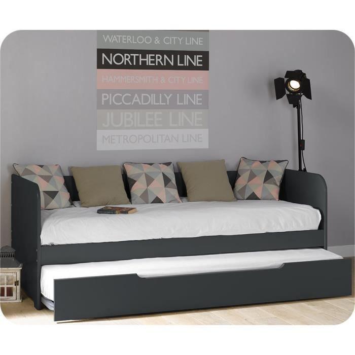 pack lit gigogne bali gris anthracite 80 x 200 cm 2 matelas achat vente lit gigogne pack. Black Bedroom Furniture Sets. Home Design Ideas