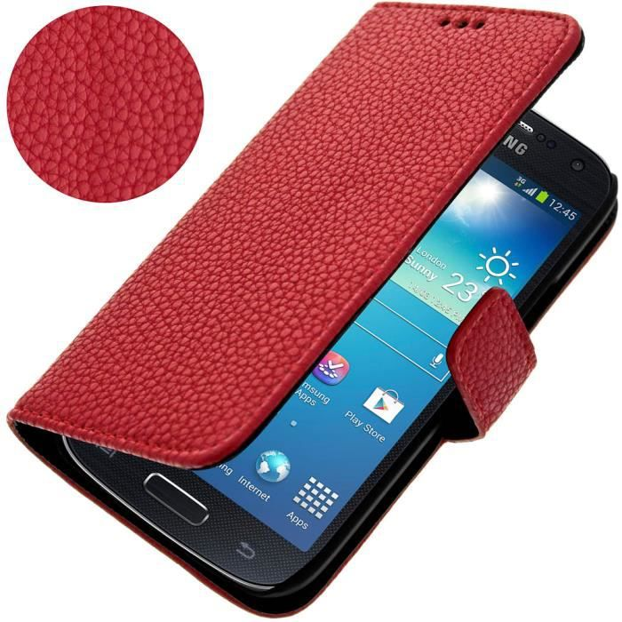 Etui support samsung galaxy s4 mini rouge achat housse for Housse samsung galaxy s4 mini