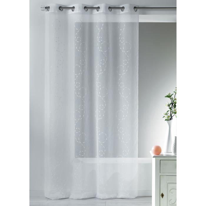 home maison hm6970398 voilage brod e fantaisie etamine polyester blanc 140 x 260 cm achat. Black Bedroom Furniture Sets. Home Design Ideas