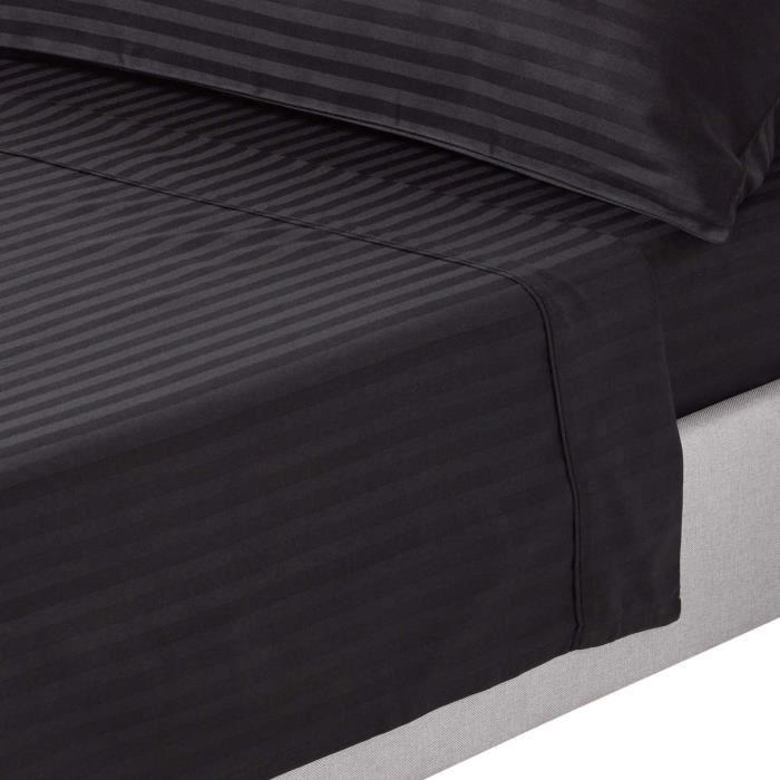 drap plat ray satin de coton gyptien 330 fils coloris noir 230 x 255 cm achat vente drap. Black Bedroom Furniture Sets. Home Design Ideas