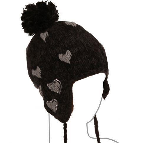 Bonnet p ruvien coeur et strass noir couleur noir achat vente bonnet cagoule bonnet for Bureaux adolescente noir et strass