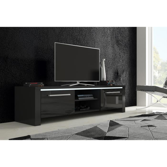 meuble tv alex noir mat noir brillant achat vente meuble tv meuble tv alex noir mat n. Black Bedroom Furniture Sets. Home Design Ideas