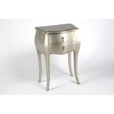 Chevet de lit marque amadeus couleur argent silver deux for Table de chevet argente