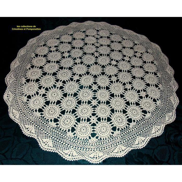 centre de table crochet fait main rond ecru de 75 achat vente chemin de table cdiscount. Black Bedroom Furniture Sets. Home Design Ideas
