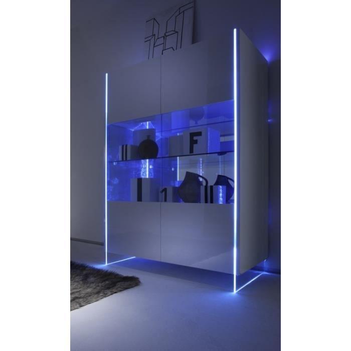 vaisselier lumineux laqu blanc milu1l achat vente vitrine argentier vaisselier lumineux. Black Bedroom Furniture Sets. Home Design Ideas