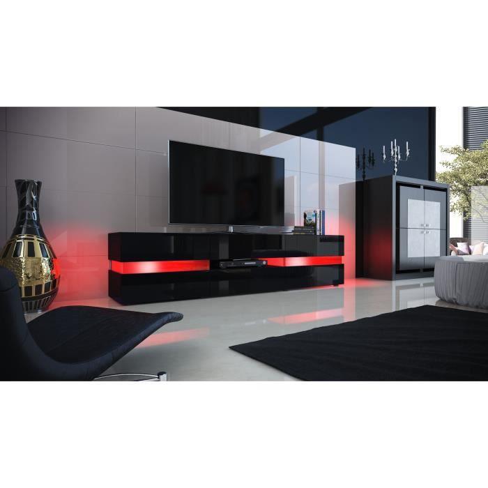 Meuble tv noir laqu avec led 139 cm achat vente - Meuble tv led noir ...