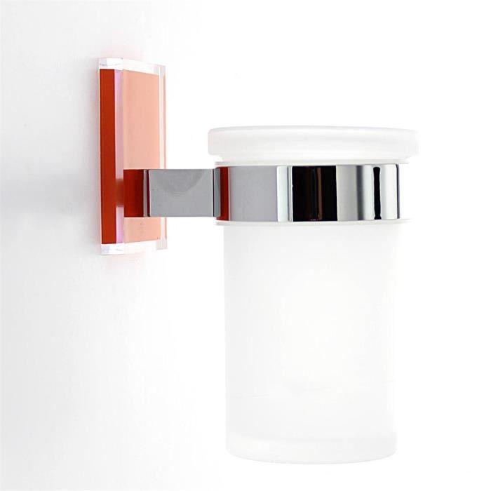 Porte brosse dents mural orange et chrom milou achat vente porte accessoire porte brosse - Porte brosse a dent mural ...