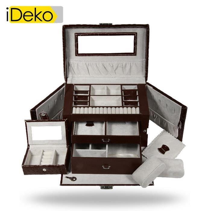 ideko coffret bijoux pu cuir 3 tages caf jolie bo te bijoux achat vente boite a bijoux. Black Bedroom Furniture Sets. Home Design Ideas