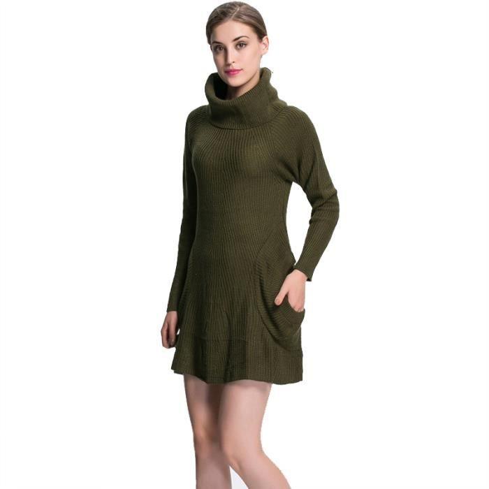 sweater pull femme manches longues vert militaire elastique epais chaud vert militaire achat. Black Bedroom Furniture Sets. Home Design Ideas