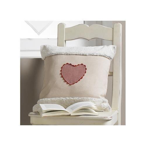 coussin d houssable brod coeur fourrure beige achat vente coussin soldes d t cdiscount. Black Bedroom Furniture Sets. Home Design Ideas