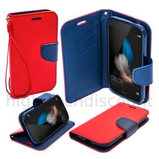 housse etui coque pochette portefeuille pour huawei ascend p8 lite film ecran rouge bleu. Black Bedroom Furniture Sets. Home Design Ideas