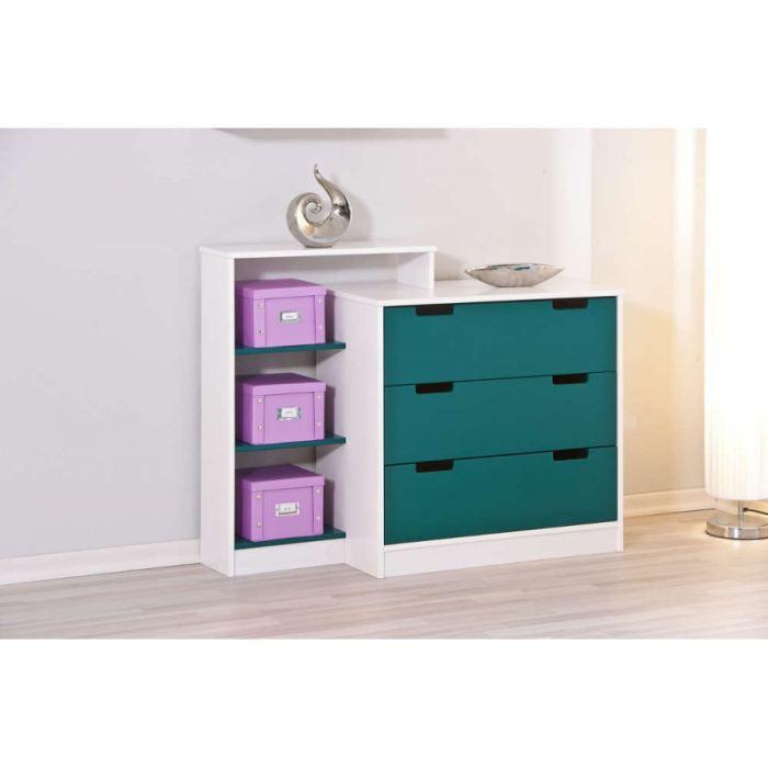 commode bleu petrole et blanc achat vente commode semainier commode bleu petrole et blanc. Black Bedroom Furniture Sets. Home Design Ideas