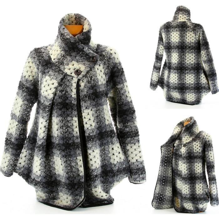 manteau boule laine bouillie leandra femme gris achat vente manteau caban soldes. Black Bedroom Furniture Sets. Home Design Ideas