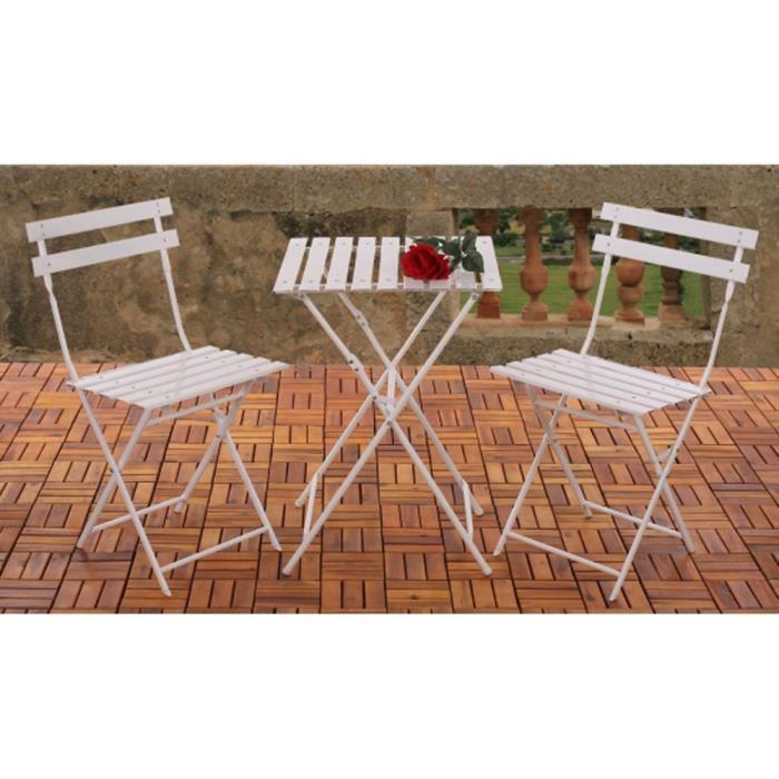 ensemble de jardin table et 2 chaises coloris achat vente salon de j. Black Bedroom Furniture Sets. Home Design Ideas