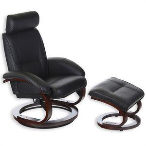 fauteuil avec repose pieds grenada noir achat vente. Black Bedroom Furniture Sets. Home Design Ideas