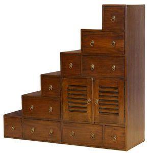 Meuble escalier colonial 6 marches droit achat vente for Meuble en forme d escalier