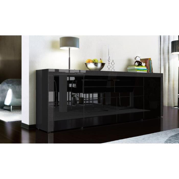 buffet enfilade noir au contour noir m tallique 200 cm. Black Bedroom Furniture Sets. Home Design Ideas
